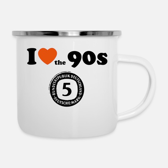 Love Tassen & Becher - I Love the 90s - 5 Mark - Emaille-Tasse Weiß