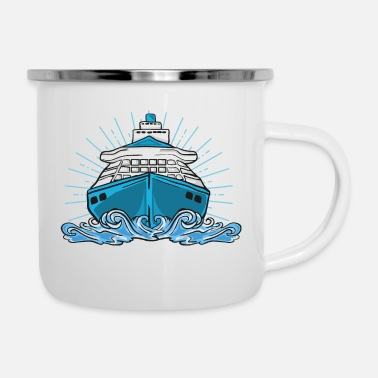 Cruise Ship Ship cruise lake sea cruise ship boat - Enamel Mug