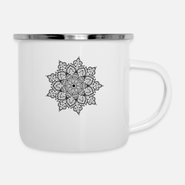 Filigree Filigree mandala in black & gray - Enamel Mug