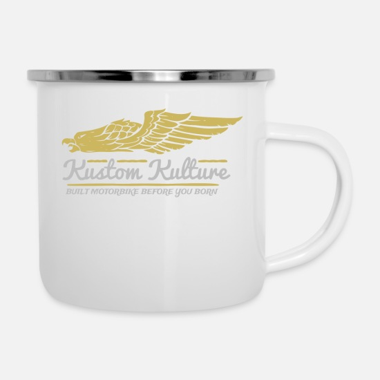 New Mugs & Drinkware - Kustom culture - Enamel Mug white