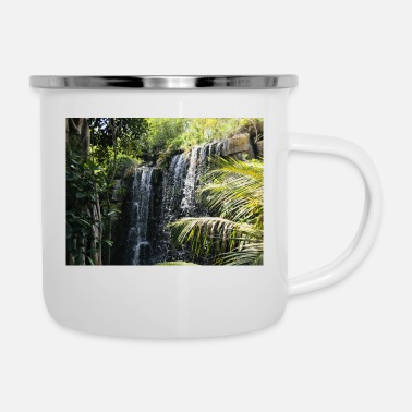 Rainforest Waterfall in the rainforest - Enamel Mug