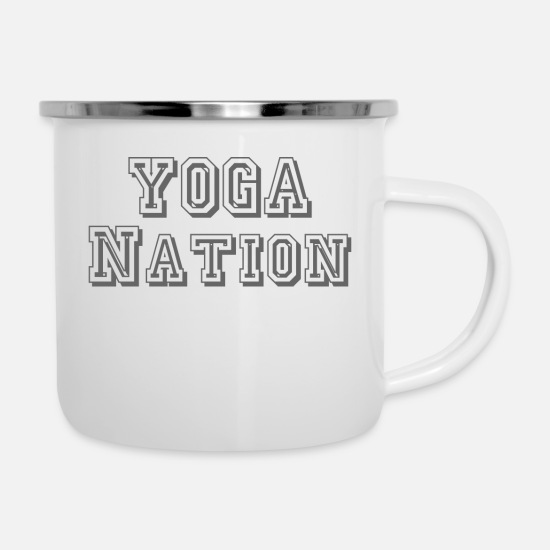 Yogi Mugs & Drinkware - Yoga nation gray - Enamel Mug white