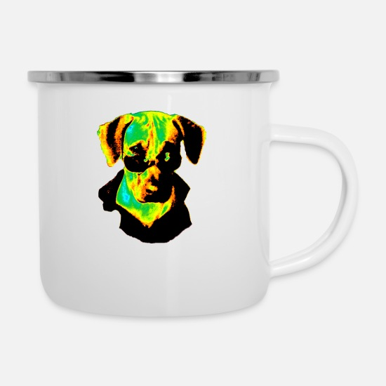 Glasses Mugs & Drinkware - Dog with glasses Colorful - Enamel Mug white