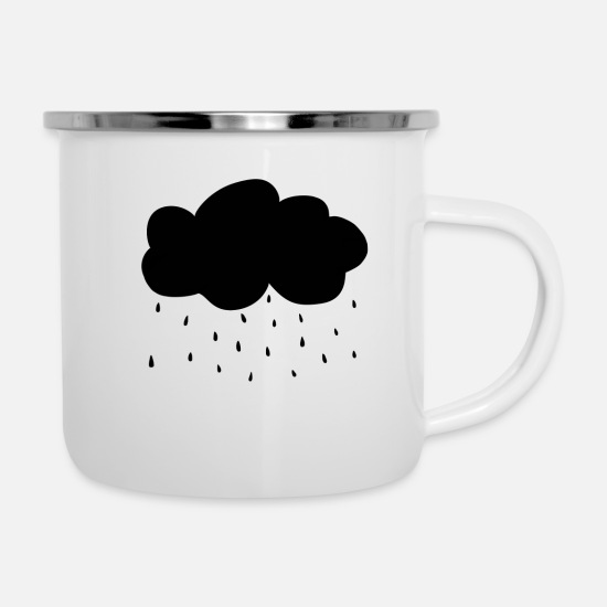 Birthday Mugs & Drinkware - rain cloud - Enamel Mug white