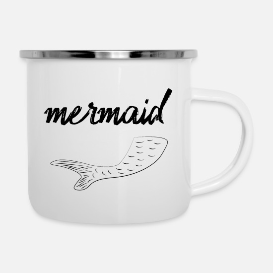 Grafik Tassen & Becher - mermaid - Emaille-Tasse Weiß