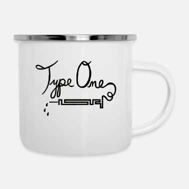 Needle Type One Diabetes - Needle Design - Black - Enamel Mug