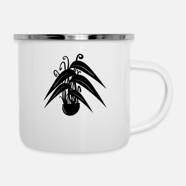 Black Forest Plant / plant in black / white - Enamel Mug