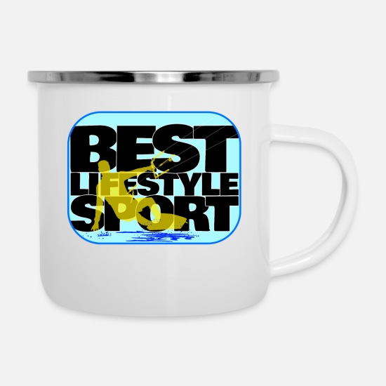 Surfer Mugs & Drinkware - Kiter lifestyle - freedom on the umbrella - Enamel Mug white