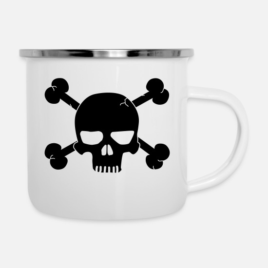Skull And Bones Mugs & Drinkware - skull with bones / pirate - Enamel Mug white