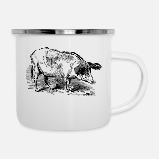 Pig Mugs & Drinkware - Sad Pig - Enamel Mug white