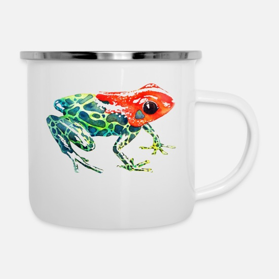 South America Mugs & Drinkware - Frog with a red head - Enamel Mug white
