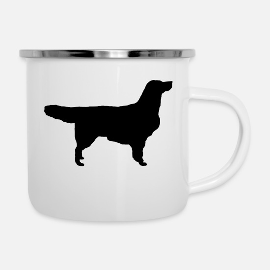 Golden Tassen & Becher - Golden Retriever - Emaille-Tasse Weiß