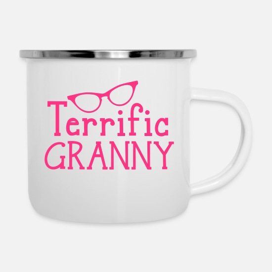 Granny Mugs & Drinkware - terrific granny! - Enamel Mug white