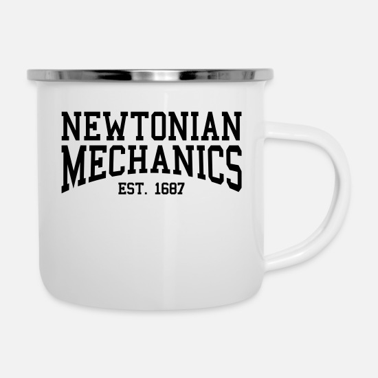 Newton Mugs & Drinkware - Newtonian Mechanics - Est. 1687 (Over-Under) - Enamel Mug white