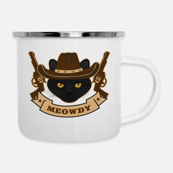 Gift Idea Mugs & Drinkware - Texas cat Meowdy Howdy - Enamel Mug white