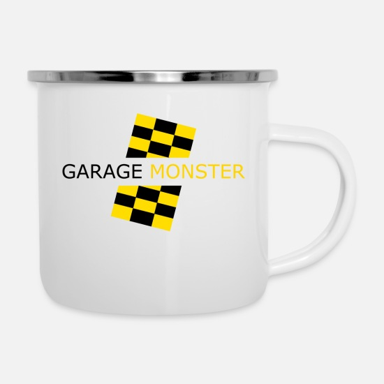 Garage Mokken & toebehoor - garage monster - Emaille mok wit