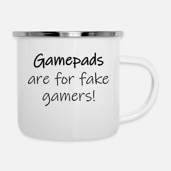 Play Mugs & Drinkware - Gamepads are fake - Enamel Mug white