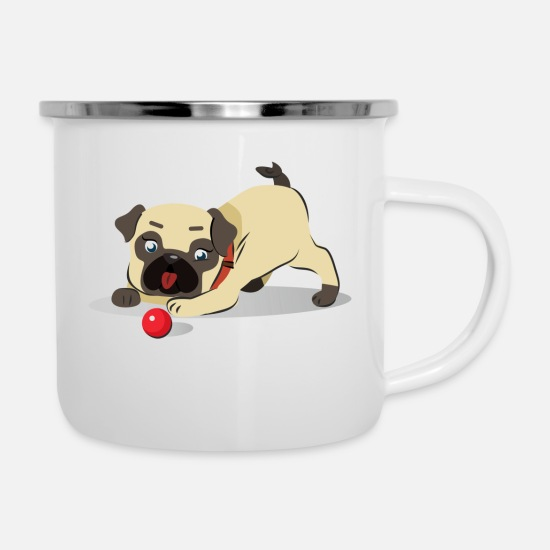 Dog Friend Mugs & Drinkware - Pug with the ball - Enamel Mug white