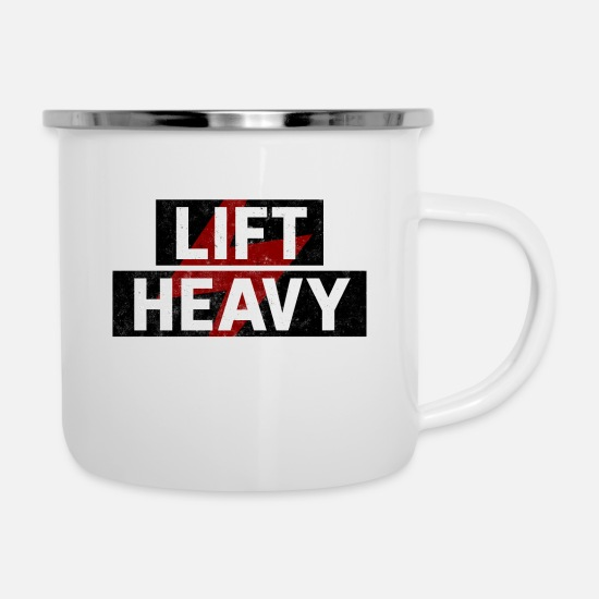 Surprise Mugs & Drinkware - lift heavy - Enamel Mug white