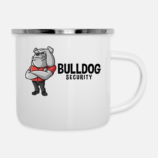 Karikatur Tassen & Becher - Bulldog Security - Emaille-Tasse Weiß
