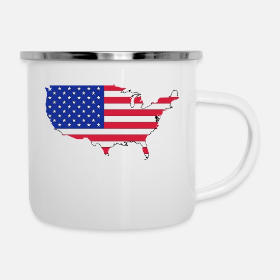 Army Mugs & Drinkware - USA - Enamel Mug white