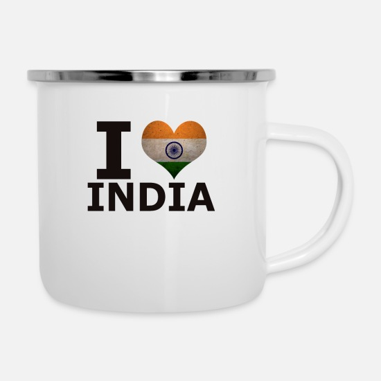 Love Mugs & Drinkware - I LOVE INDIA FLAG - Enamel Mug white