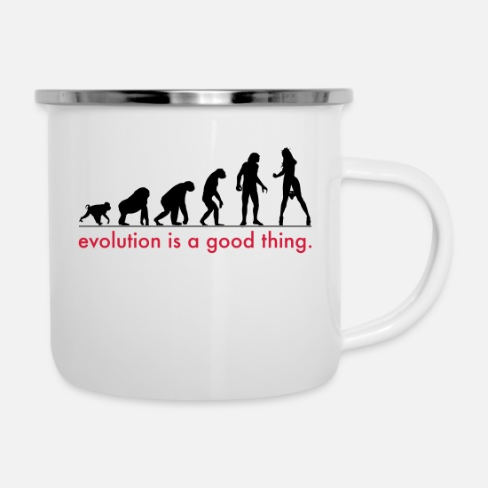 Sexy Mugs & Drinkware - evolution - Enamel Mug white