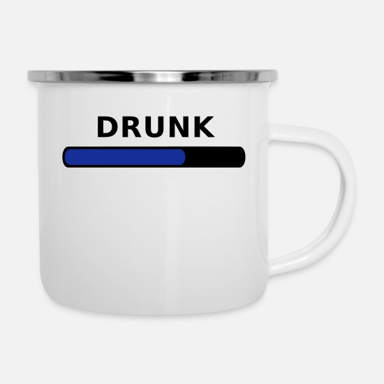 Alcohol Mugs & Drinkware - Drunk Progress - Enamel Mug white