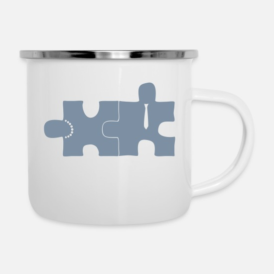 Love Mugs & Drinkware - PUZZLE - lovers - Enamel Mug white
