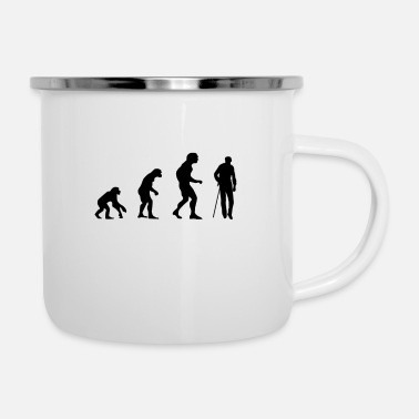 Mann Evolution Alter Mann - Emaille-Tasse