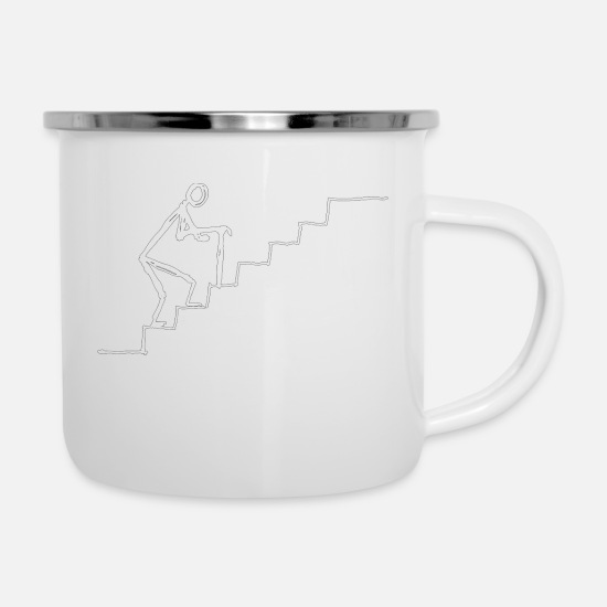 Senior Mugs & Drinkware - little married senior on stairs - Enamel Mug white
