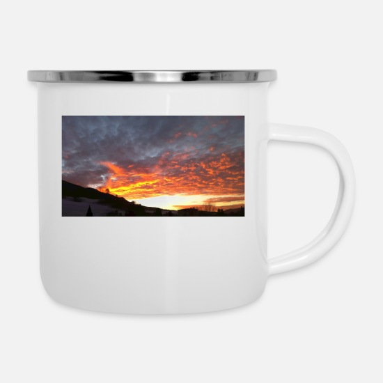 Blue Sky Mugs & Drinkware - winter sky - Enamel Mug white