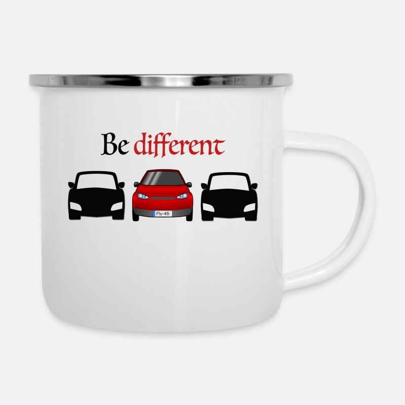 Red Mugs & Drinkware - Be different - Enamel Mug white