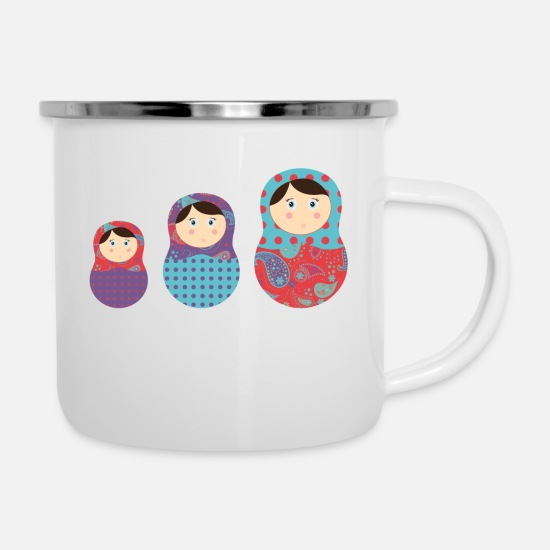 Doll Mugs & Drinkware - matriochkas - Enamel Mug white