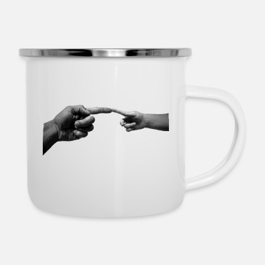 Hand Hands, child hand and adult hand - Enamel Mug