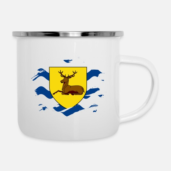 England Mugs & Drinkware - Hertfordshire Flag Paint Splatter Design - Enamel Mug white