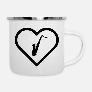 Band Heart symbol saxophone saxophone jazz big band player - Enamel Mug