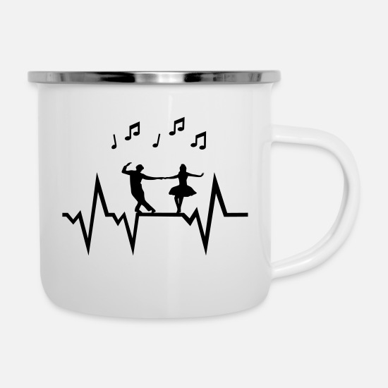 Rock Mugs et récipients - Dancer & Heartbeat with music notes - Mug émaillé blanc