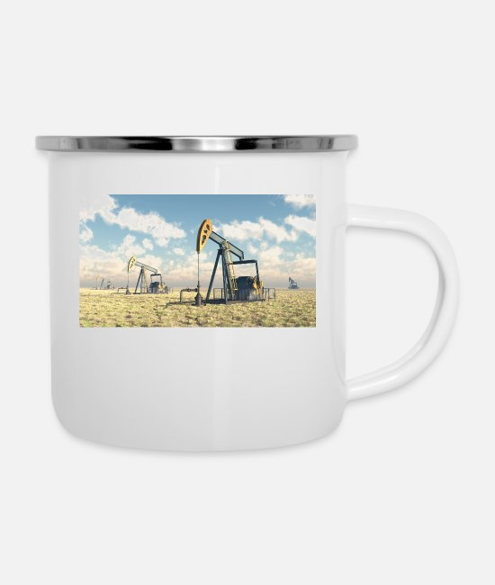 Industry Mugs & Drinkware - Oil pumps, oil production, oil production, oil - Enamel Mug white