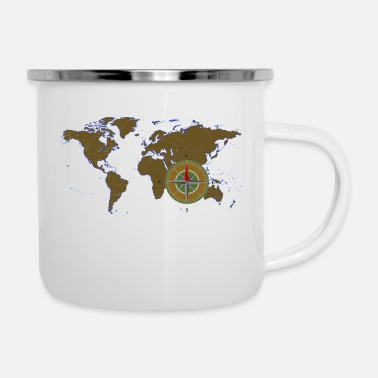 Map with compass - Enamel Mug