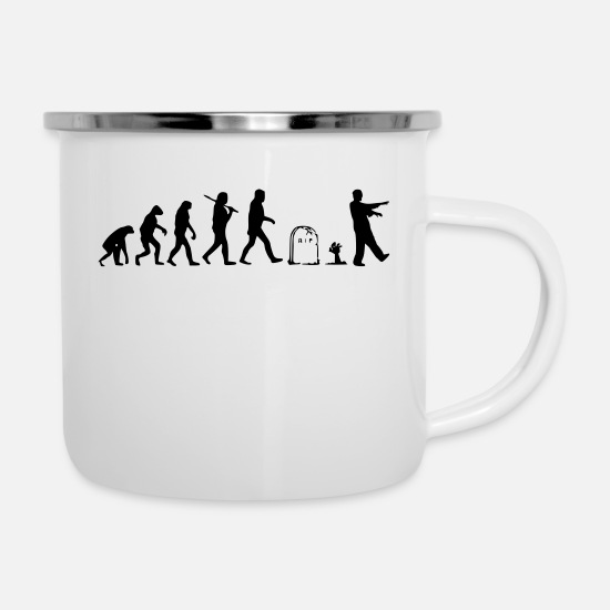 Monkey Mugs & Drinkware - Evolution - Enamel Mug white