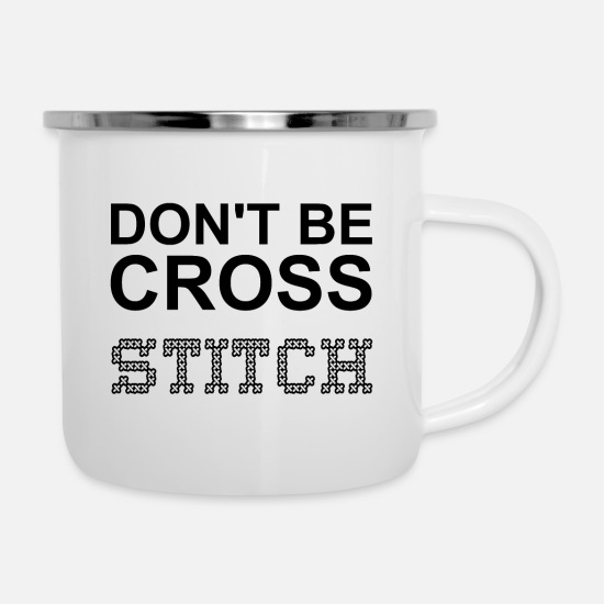 Stitch Mugs & Drinkware - Don't Be Cross - Enamel Mug white