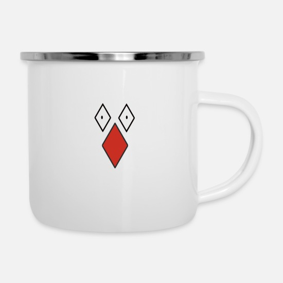 Nose Mugs & Drinkware - Cool checked face with big red nose - Enamel Mug white