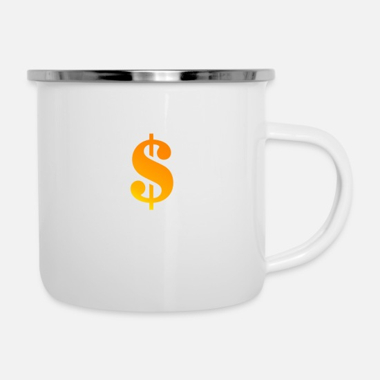 Wealth Mugs & Drinkware - dollar - Enamel Mug white