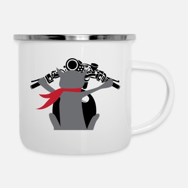 Two Cat on motorcycle chopper kitten gift - Enamel Mug