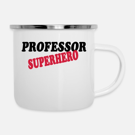 Professor Mugs & Drinkware - Professor superhero - Enamel Mug white