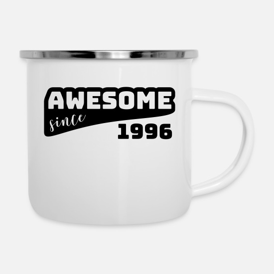 Gift Mokken & toebehoor - Awesome sinds 1996 / Birthday-shirt - Emaille mok wit