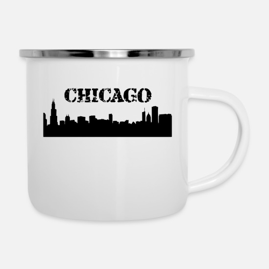Chicago Mugs & Drinkware - Chicago skyline - Enamel Mug white