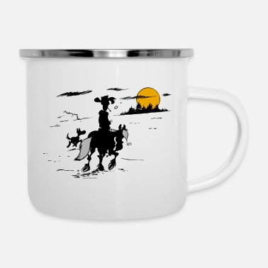 Officialbrands Lucky Luke mit Jolly Jumper und Rantanplan - Emaille-Tasse