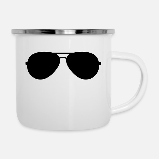 Sunglasses Mugs & Drinkware - sunglasses - Enamel Mug white